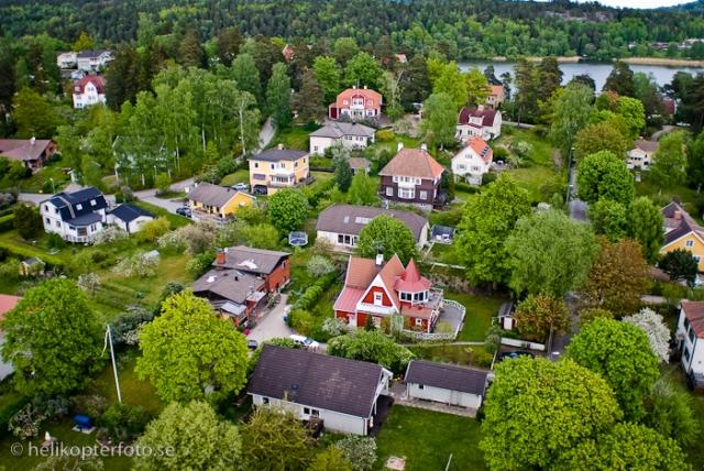 Flygfoto av  villaområde i Sollentuna, Solvägen